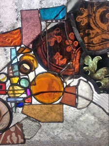 Using lots of the old patterned glass from the  Mullica Hill stash , I filled the void left by the cat...
